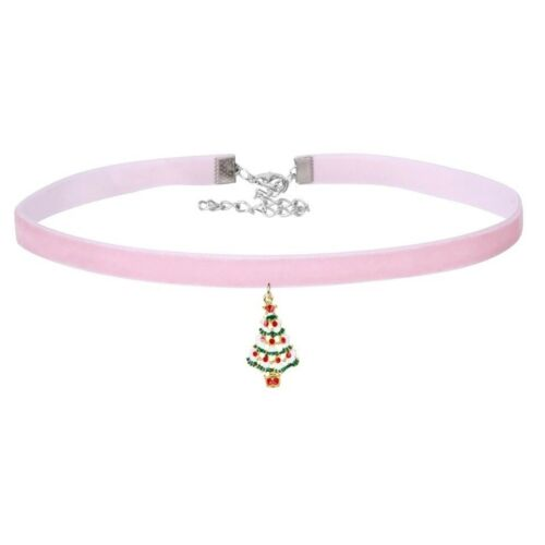 PINK VELVET CHOKER CHRISTMAS TREE CHARM NECKLACE COLLAR GIFT JEWELLERY WRAPPED