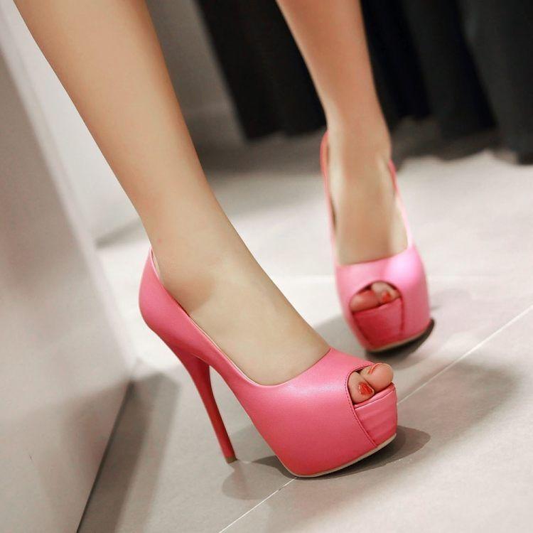 Décollte Schuhe Pumps elegant Frau Absatz rosa Stift plateau 13.5 rosa Absatz 9299 963290