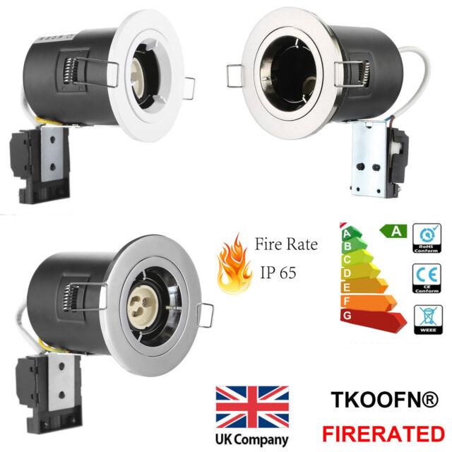 4 x Polished Chrome IP65 Bathroom Shower LED GU10 Ceiling Downlights Spot Lights
