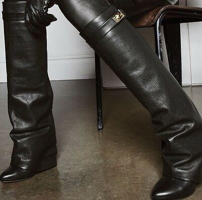 Stylish Womens Leather Fold-Over Knee-High Boots Wedge Fold Over Boots
