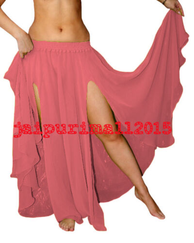 SALMON Chiffon 2 Slit Full Circle Skirt Tribal Belly Dance Gypsy Costumes S~3XL