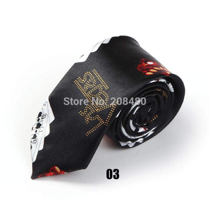 Unisex Novelty Fancy Dress Black Las Vegas Casino Poker Skinny Tie - Brand New