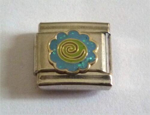9mm Classic Tamaño Italiano encantos encanto E14 Azul Glitter Flower Power