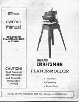 1988 Craftsman 306.233810 Planer-molder Instructions
