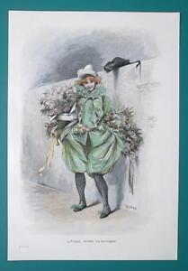 LOVELY-GIRL-Return-from-Ball-Black-Cat-Flowers-VICTORIAN-Color-Era-Print