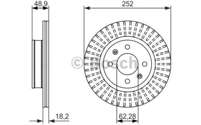 2x BOSCH Discos de Freno Traseros Ventilado 252mm 0 986 479 770