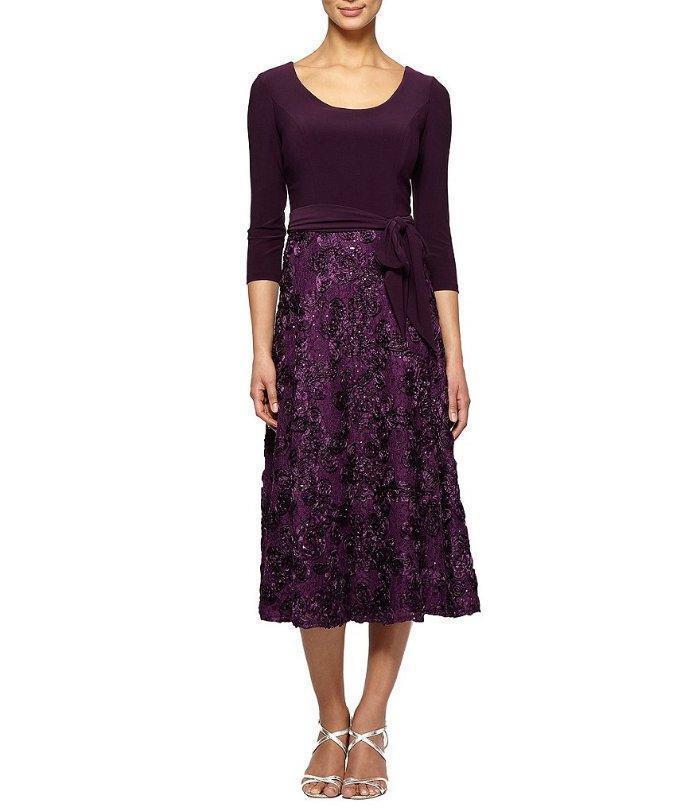 ALEX EVENINGS® 16P Eggplant pinktte Tea Length Dress NWT  189