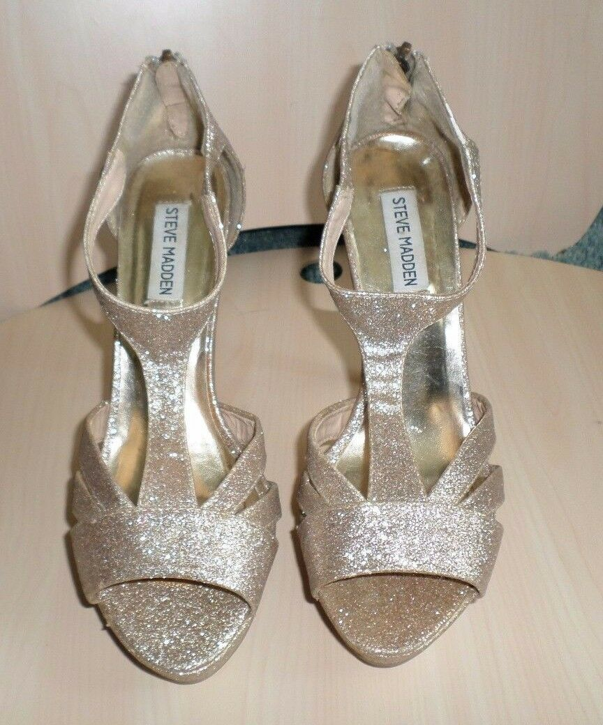 f94355e55cd Details about Ladies Steve Madden P-Panaa Gold Sparkle Pumps Stiletto Heels  Dress Shoes 8 1/2