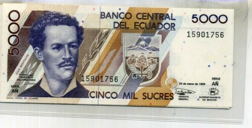 ECUADOR 5,000 SUCRES 1999 5 CURRENCY NOTES CU 5566D