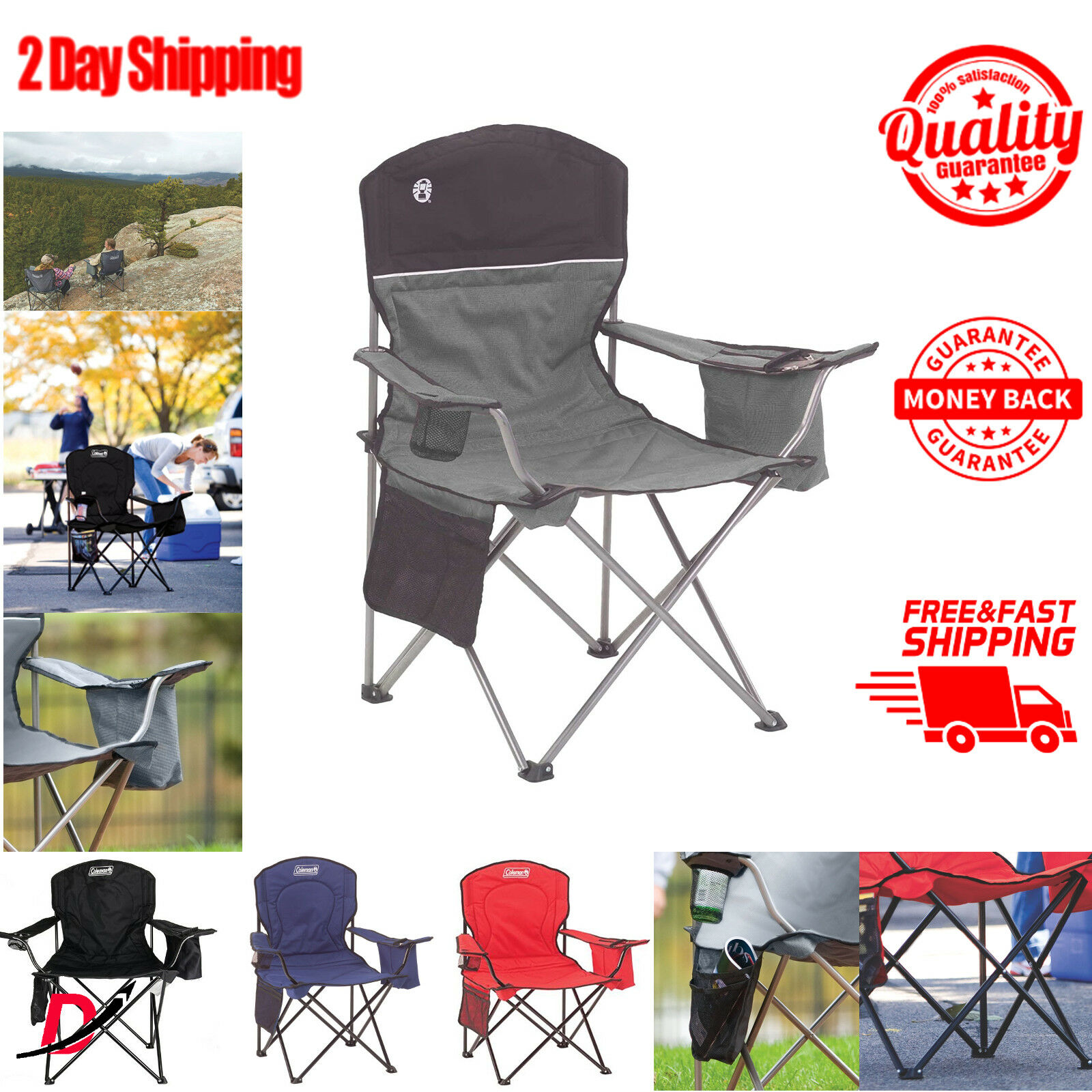 Coleman Oversized Folding Quad Chair With Cooler For Adults Camping  Cup Holder  new style