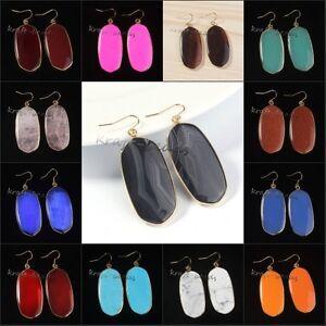 18K-Gold-Plated-Quartz-Turquoise-Agate-Gemstone-Drop-Dangle-Hook-Earring-Jewelry
