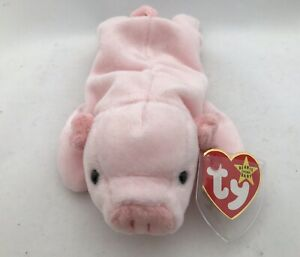 20cb6064810 Rare TY BEANIE BABIES SQUEALER THE PIG Retired With Tag ERRORS Mint ...