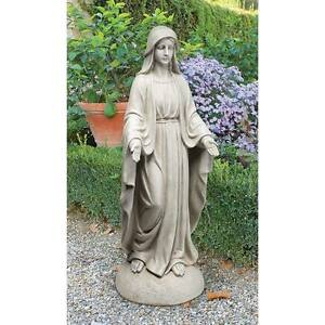 """Madonna Of Notre Dame 36"""" High Design Toscano Statue With Antique Stone Finish"""
