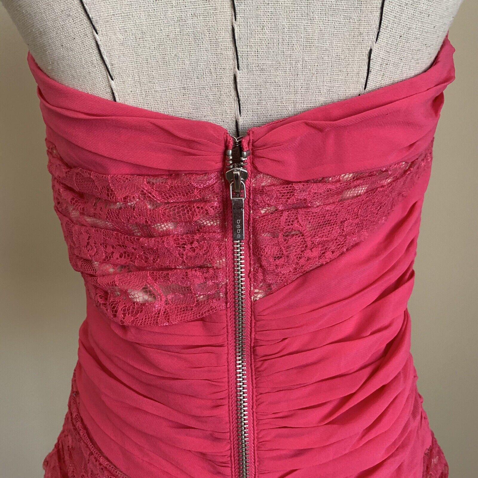 Vintage Y2K 90s BEBE Hot Pink Lace Silk Bustier C… - image 6
