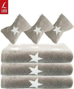 lasa handtuch duschtuch strandtuch saunatuch waschhandschuh sterne silber grau ebay. Black Bedroom Furniture Sets. Home Design Ideas