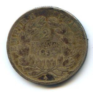 II-Empire-Napoleon-III-1852-1870-2-Francs-Tete-nue-1854-A-Paris
