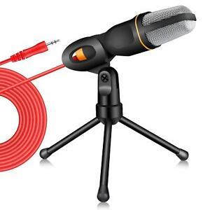 PC-Laptop-Mikrofon-3-5mm-Mikro-fuer-Skype-Youtube-Podcast-Telefonie-mit-Staender