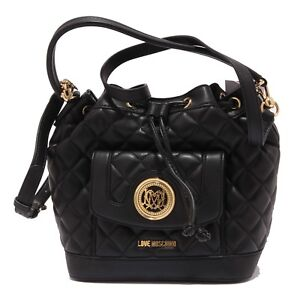 Dettagli su 7452V borsa donna LOVE MOSCHINO secchiello eco leather black bag woman