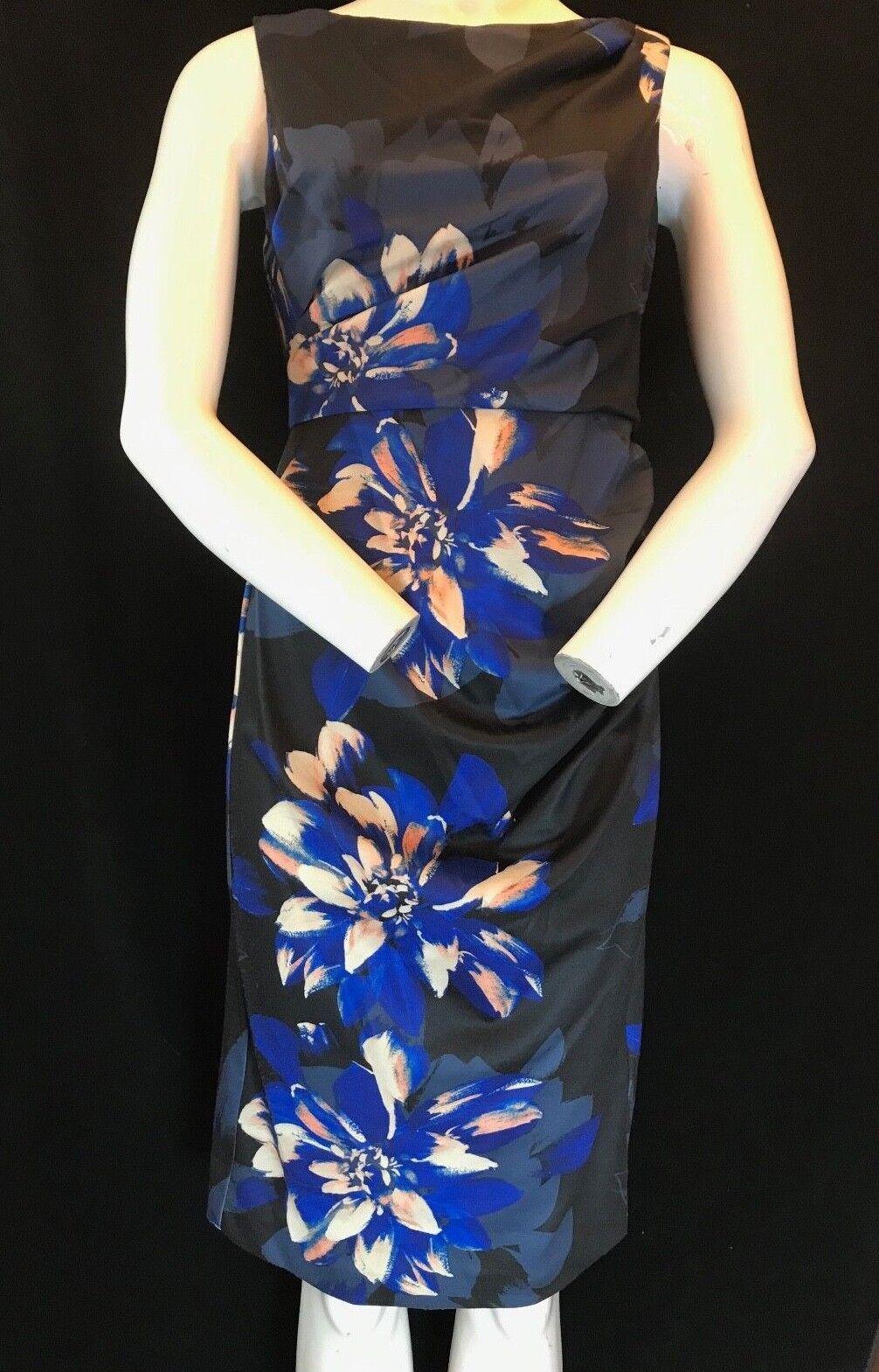BNWT damen KARAN New York Knee Length Sleeveless Floral Print Dress Größe