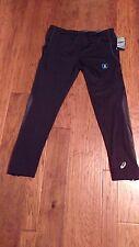 NWT Asics Men's Black Compression Running Pants Reflectivity, 4Way Stretch, L