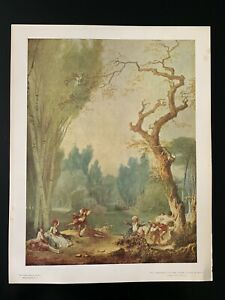 Vintage-034-A-Game-of-Horse-and-Rider-034-Print-by-Fragonard-National-Gallery-of-Art
