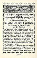 Leipzig Breitkopf & Härtel La Mara Beethoven Historische Kunst- Annonce von 1909