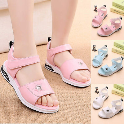 UK Fashion Kids Girls Pearl Princess Open-toe Sandals Shoes Children Beach NEW
