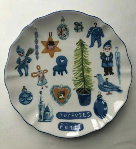 Anthropologie Nathalie Lete Joyeuses Fetes Dessert Plate French Christmas
