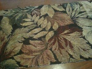 Vintage-Upholstery-Ferns-Leaves-Brocade-Fabric-Remnants-Salvage-Chunk