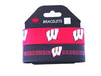 Wisconsin Badgers Rubber Wrist Band Bracelet Fan Set