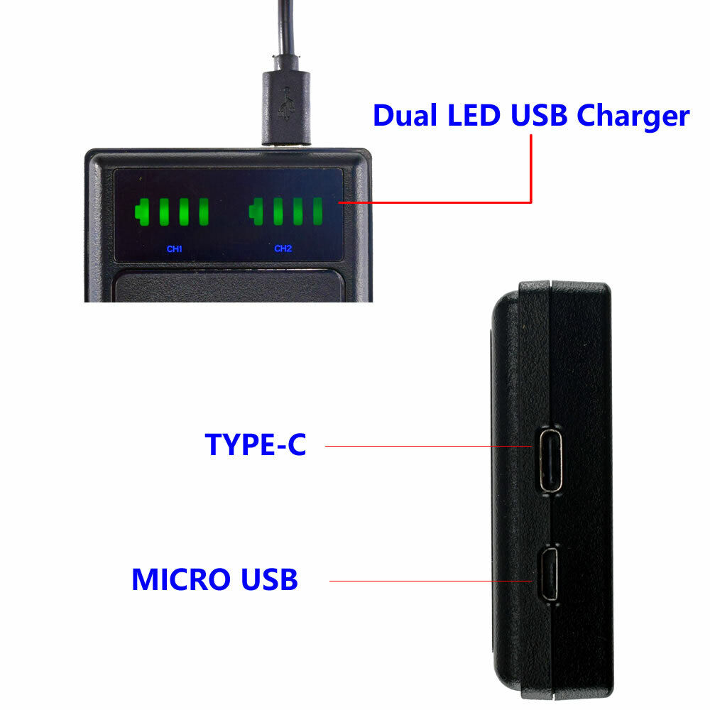 LED USB Dual Battery Charger for GoPro Hero 3 HERO3+ AHDBT-301 AHDBT-302
