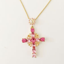 New Pink Clear Crystal Round Holly Cross Charm Chain Good Fortune Necklace N1459