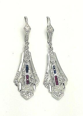 Ohrringe Rubin Smaragd Brillant ART DECO 925 Sterling Silber