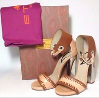 Etro Mirrored Heel Ankle Cuff Solid Leather Sandal Sz 37 (us 7) Brand In Box