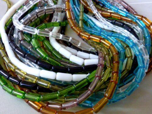 Strang Röhrchen Zylinder Glasperle 10 mm 32 Stück Auswahl 2676