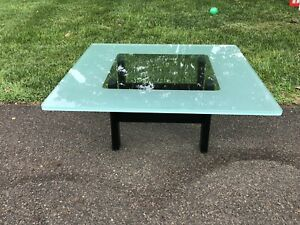 Italian Frosted Glass Coffee Table Contemporary 80 S Metal Base