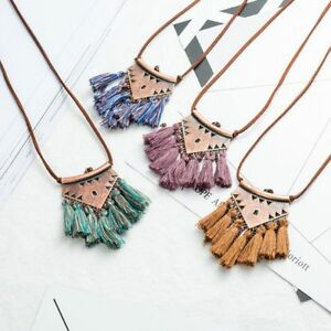 Women-Leather-Chain-Fringe-Tassel-Bohemian-Necklace-Metal-Triangle-Pendant