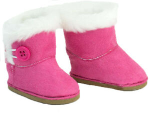 HOT PINK SUEDE BOOTS SHOES W// Button fit American Girl Dolls NEW EWE SHERPA