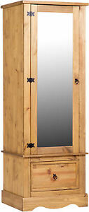 Image is loading HOMELY-TALL-ARMOIRE-MIRRORED-DOOR-1-DRAWER-WARDROBE-  sc 1 st  eBay & HOMELY TALL ARMOIRE MIRRORED DOOR 1 DRAWER WARDROBE- SOLID PINE ...