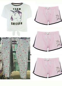 Ladies Primark Team Unicorn Crop Top Pyjamas Magical Shorts Women s ... 725cd8d0625