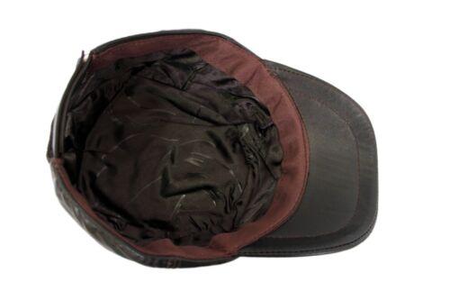 MENS CASTRO CAP DARK BROWN REAL LEATHER IVY NEWSBOY GATSBY BUNNET BERET HAT