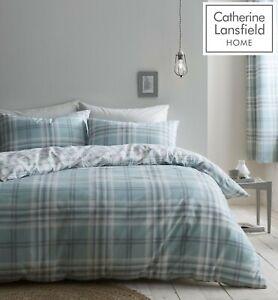 Catherine-Lansfield-Kelso-Tartan-Easy-Care-Duvet-Cover-Bedding-Set-Mint