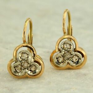 Details About Yellow Gold Earrings With Diamonds Style Antique And Vintage Womens Las