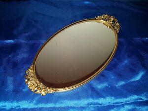 Spiegeltablett mit Rosen-Griff Oval Tablett Serviertablett 33*18 cm