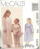 Mccall's 5698 Girls' Sleepwear, Booties And Doll Sizes 6 And 7 Sewing Pattern