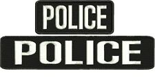 "POLICE embroidery patches 2x9"" and 2x5 hook on back white letters"