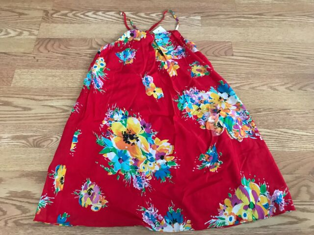 Polo Ralph Lauren girl/'s red floral flower dress 10 yellow orange pink blue RL67