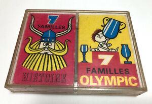 ANCIEN JEU DE CARTES DES 7 FAMILLES CARD FAMILIES HISTOIRE OLYMPIC ANNEES 60 70