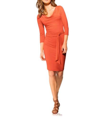 Heine Kleid orange Gr 36 38 40 42 44 46 Wasserfallausschnitt