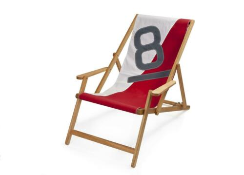 Bicolored 727 Sailbags Liegestuhl Deck Chair with Armrests No 8 Grey Red T